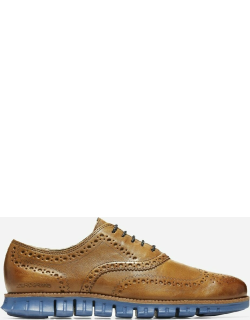 ColeHaanUK Men's Leather ZEROGRAND Wingtip Oxford Lace Up Shoe in Monks Robe,