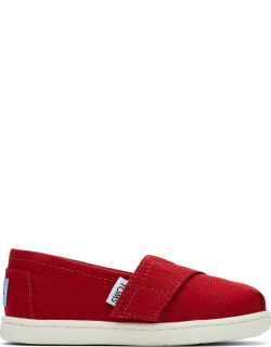 TOMS Red Canvas Tiny Classics 2.0 Slip-Ons Shoes
