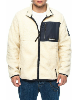 Archive sherpa fleece jacket in white and blue