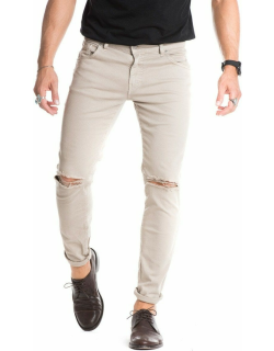 Beige ripped jeans