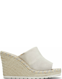 TOMS Natural Shimmer Canvas Suede Women's Monica Mule Wedges Shoes