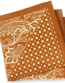 Cotton And Linen Paisley And Medallion Pocket Square