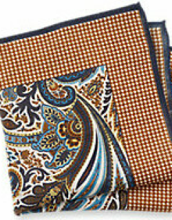 Cotton And Linen Paisley And Houndstooth Pocket Square