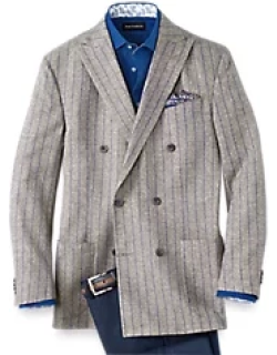 Linen And Cotton Striped Double Breasted Sport Coat