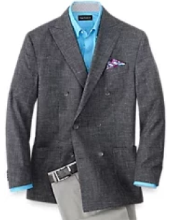 Wool Silk And Linen Striped Double Breasted Sport Coat