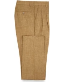Wool Silk and Linen Pleated Suit Pants