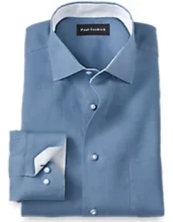 Non-Iron Linen Solid Dress Shirt with Contrast Trim