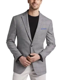 Awearness Kenneth Cole Men's Gray Plaid Slim Fit Sport Coat