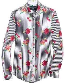 Paisley & Gray Men's Slim Fit Sport Shirt Navy and Red Floral Stripe