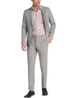 Paisley & Gray Men's Skinny Fit Suit Separates Jacket Black and Red Gingham