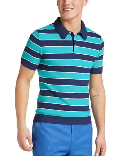 Paisley & Gray Men's Rugby Stripe Modern Fit Short Sleeve Polo Navy and Teal