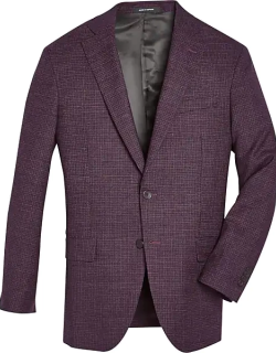 Awearness Kenneth Cole Men's Burgundy Red Check Slim Fit Sport Coat