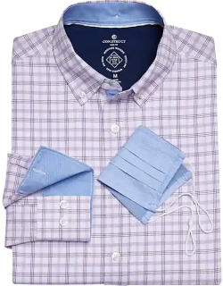Con. Struct Men's Purple Check Slim Fit Sport Shirt with Mask