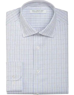 Collection by Michael Strahan Men's Active Wear Classic Fit Dress Shirt Blue & Tan Check