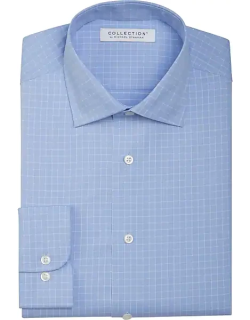 Collection by Michael Strahan Men's Active Wear Classic Fit Dress Shirt Blue Check
