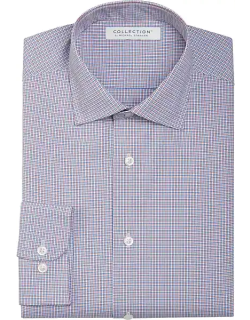 Collection by Michael Strahan Men's Active Wear Classic Fit Dress Shirt Blue & Burgundy Check