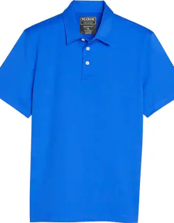 Traveler Men's Collection Modern Fit Short Sleeve Performance Polo Bright Blue