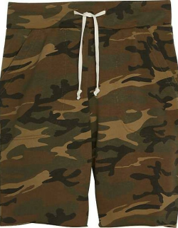 Alternative Apparel Men's Victory Modern Fit Printed Burnout French Terry Shorts Green Camo