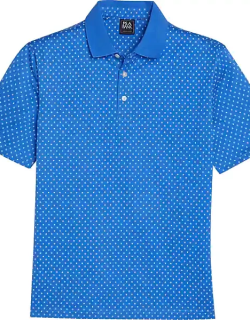 Traveler Men's Collection Modern Fit Short Sleeve Performance Polo Bright Blue & White Mini Square