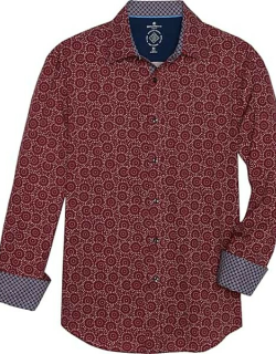 Con. Struct Men's Slim Fit Sport Shirt Burgundy Red Dotted Circles