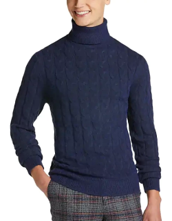 Paisley & Gray Men's Slim Fit Chunky Cable Knit Turtleneck Navy