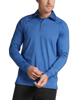 MSX By Michael Strahan Men's Long Sleeve Polo Bright Blue