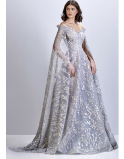 Apollo Couture Beaded Tulle Gown with Cape Sleeves