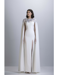 Apollo Couture Crepe Cape Sleeve Gown