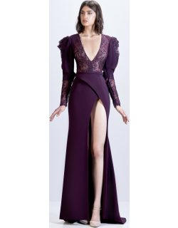 Apollo Couture Crepe Gown with Lace Bodice