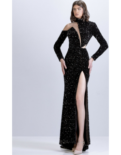 Apollo Couture Cut-Out Sequin Gown