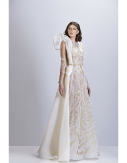 Apollo Couture Embellished Tulle Long Sleeve Gown