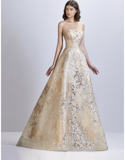 Apollo Couture Embroidered Lace Strapless Gown