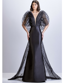 Apollo Couture Satin Gown with Pleated Bodice