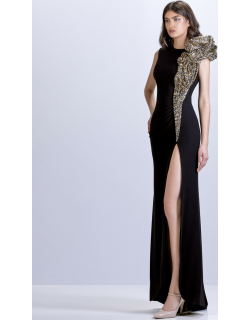 Apollo Couture Sequin Ruffled Crepe Gown