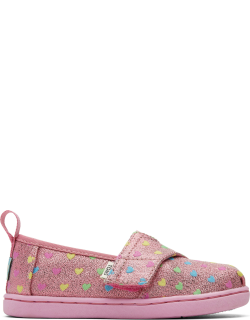 TOMS Multi Glimmer Tiny Alpargatas Hearts Slip-On Espadrille Pink Metallic Hook and Loop Shoes