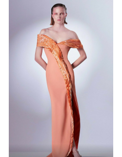 Gaby Charbachy Draped Off the Shoulder Slim Slit Gown