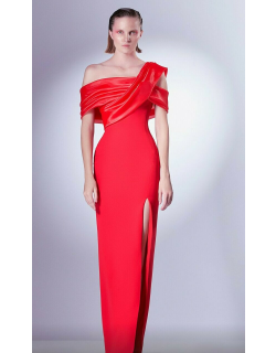 Gaby Charbachy Draped Shoulder Slit Gown