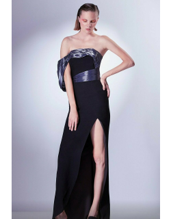 Gaby Charbachy Draped Sleeve Slit Gown