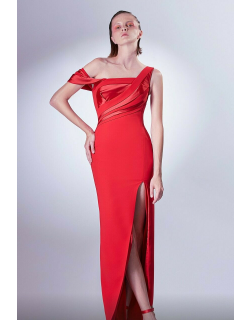 Gaby Charbachy One Shoulder Slit Gown