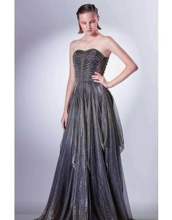 Gaby Charbachy Pleated A-Line Strapless Gown