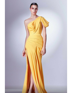 Gaby Charbachy Ruffled One Shoulder Draped Slit Gown