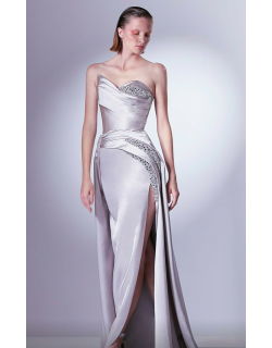 Gaby Charbachy Strapless Embellished Slit Gown