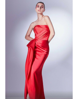 Gaby Charbachy Strapless Draped Slit Gown