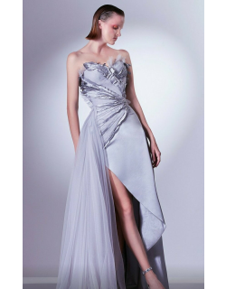Gaby Charbachy Strapless Ruched Slit Gown