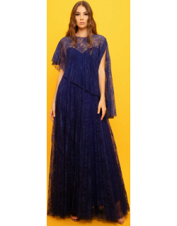 Gemy Maalouf Flared lace Long Dress With Detachable Belt