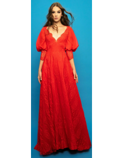 Gemy Maalouf Lace Long Dress With Bishop Sleeves