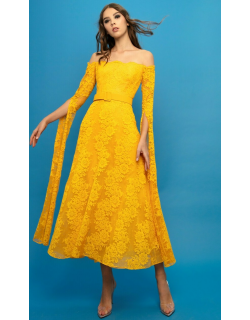 Gemy Maalouf Lace Midi Dress With Exaggerated Sleeves