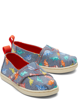 TOMS Navy Dino Bones Tiny Alpargatas Dino Slip-On Espadrille Blue Chambray Glow in the Dark Hook and Loop Shoes