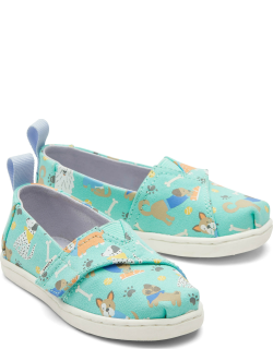 TOMS Green Glow Tiny Alpargatas Dog Days Slip-On Espadrille in the Dark Hook and Loop Shoes