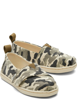 TOMS Olive Camo Tiny Alpargatas Camo Slip-On Espadrille Green Hook and Loop Shoes